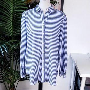 LOFT Blue White Button Down Striped Shirt L